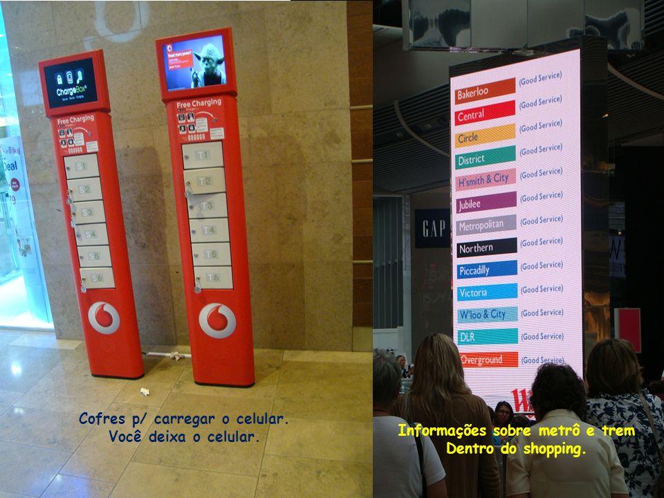 Cofres p/ carregar o celular. Informações sobre metrô e trem