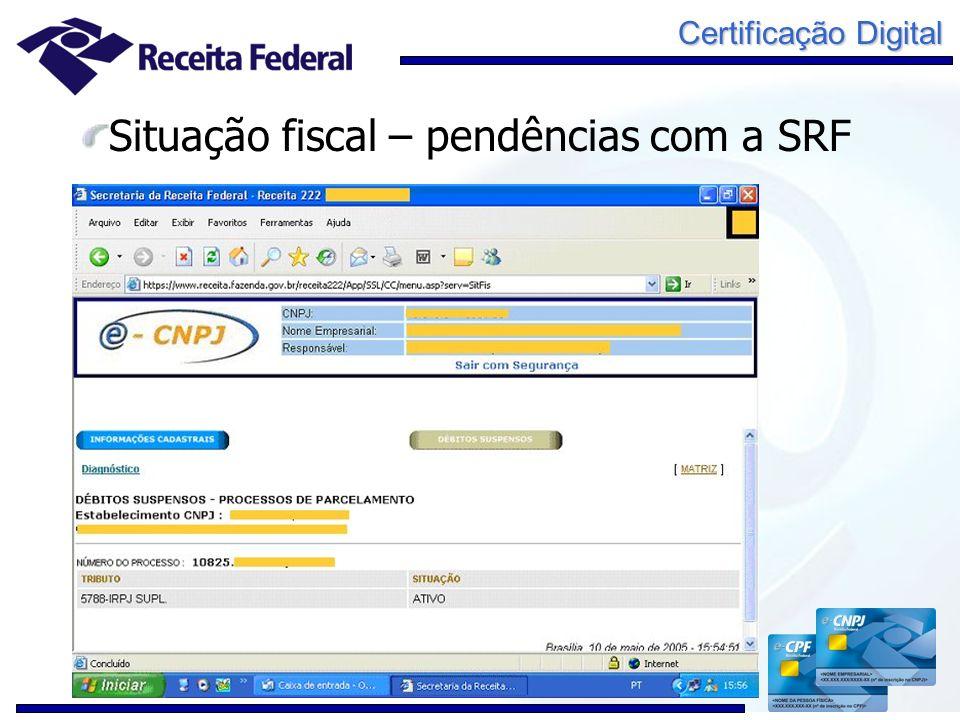 Situação fiscal – pendências com a SRF