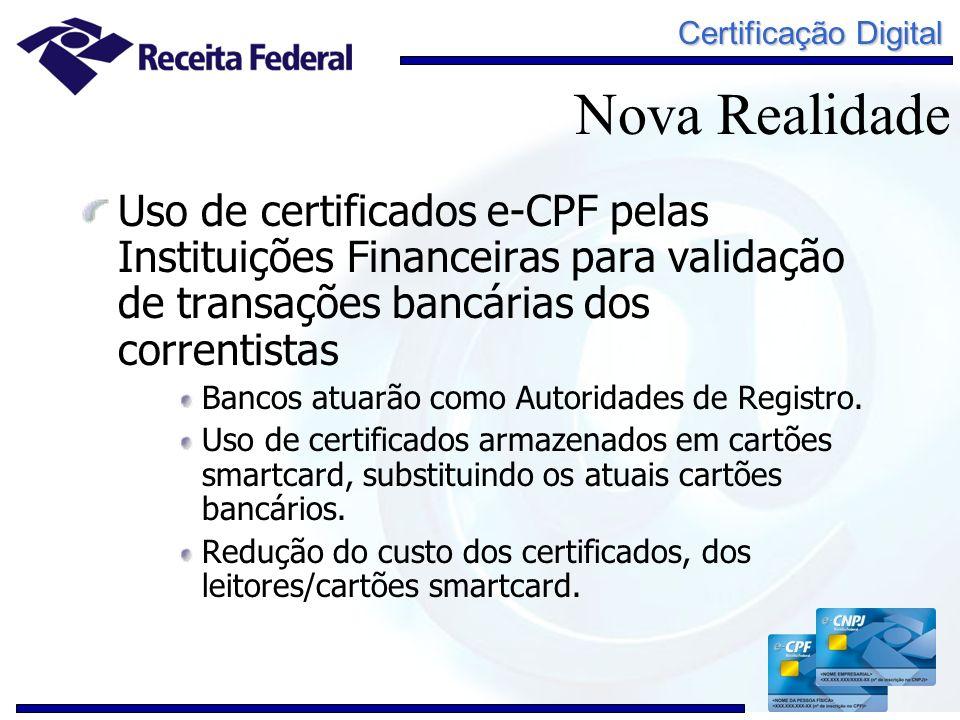 Nova Realidade Uso de certificados e-CPF pelas Instituições Financeiras para validação de transações bancárias dos correntistas.