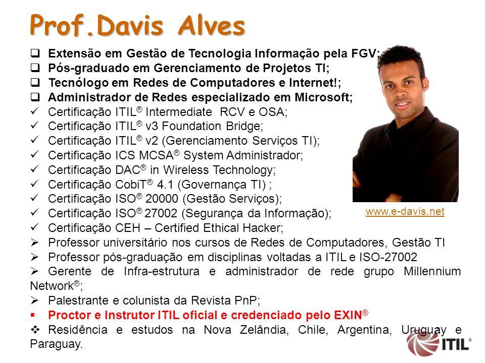 Prof.Davis Alves Extensão em Gestão de Tecnologia Informação pela FGV;
