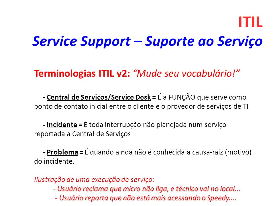 ITIL Service Support – Suporte ao Serviço