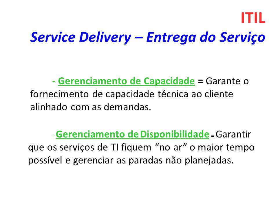 ITIL Service Delivery – Entrega do Serviço