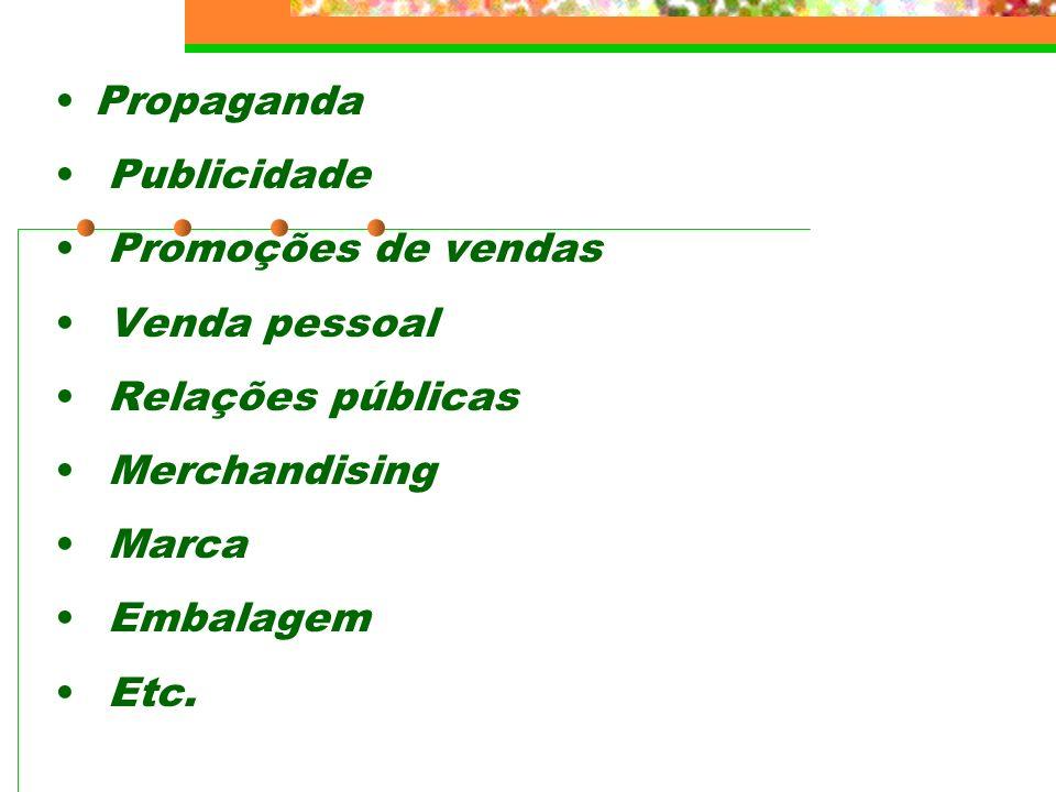 Propaganda Publicidade. Promoções de vendas. Venda pessoal. Relações públicas. Merchandising. Marca.