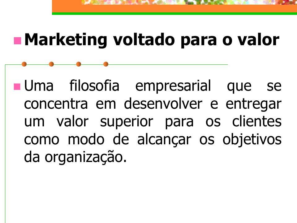 Marketing voltado para o valor