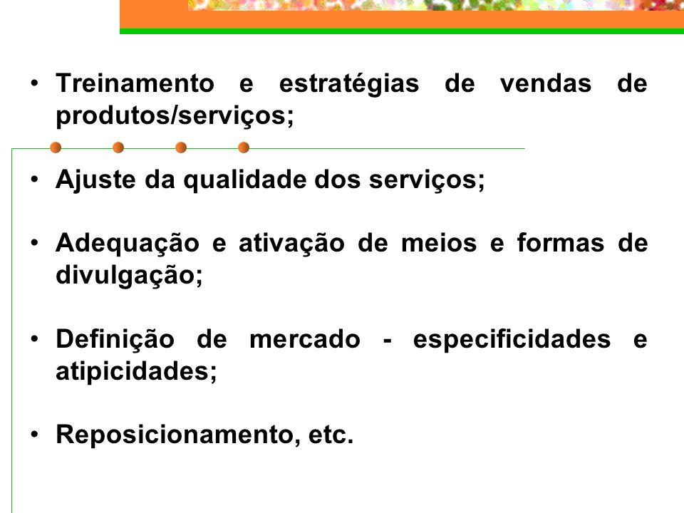 Treinamento e estratégias de vendas de produtos/serviços;