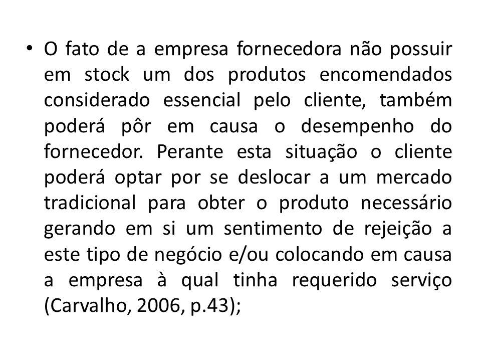 O fato de a empresa fornecedora não possuir em stock um dos produtos encomendados considerado essencial pelo cliente, também poderá pôr em causa o desempenho do fornecedor.