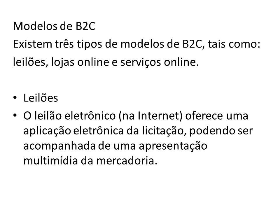 Modelos de B2C Existem três tipos de modelos de B2C, tais como: leilões, lojas online e serviços online.