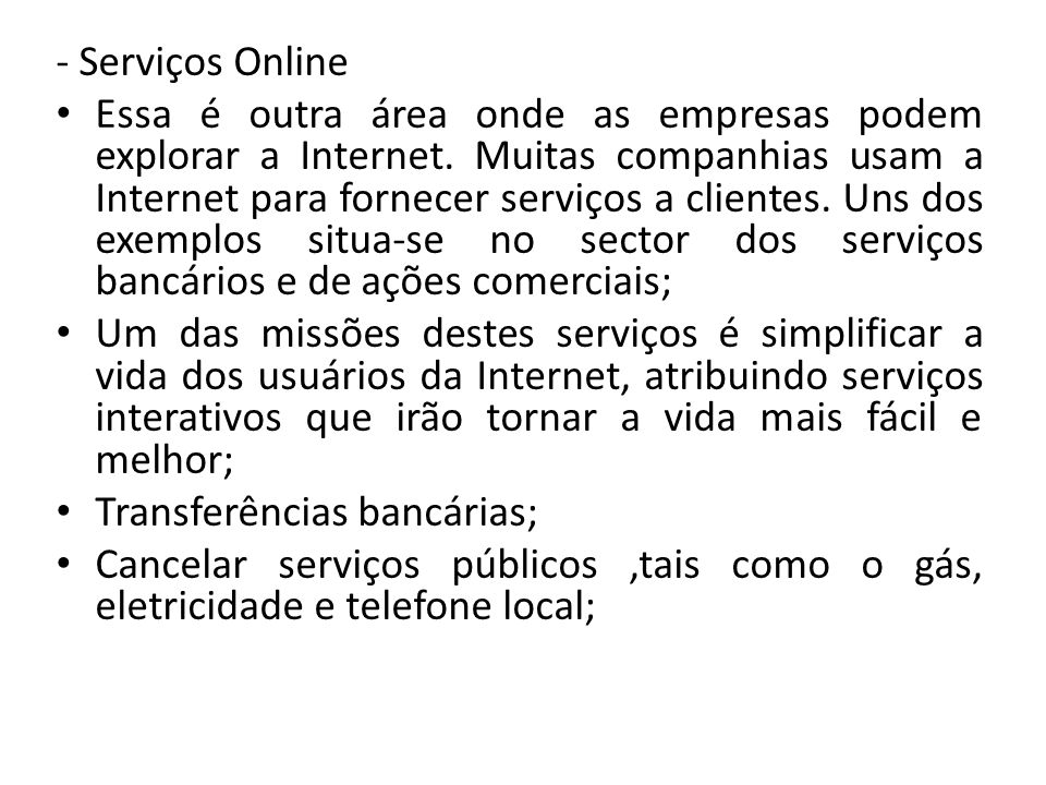 - Serviços Online
