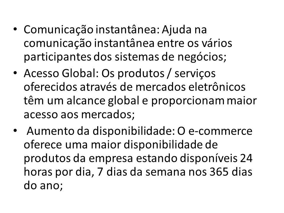 Comunicação instantânea: Ajuda na comunicação instantânea entre os vários participantes dos sistemas de negócios;