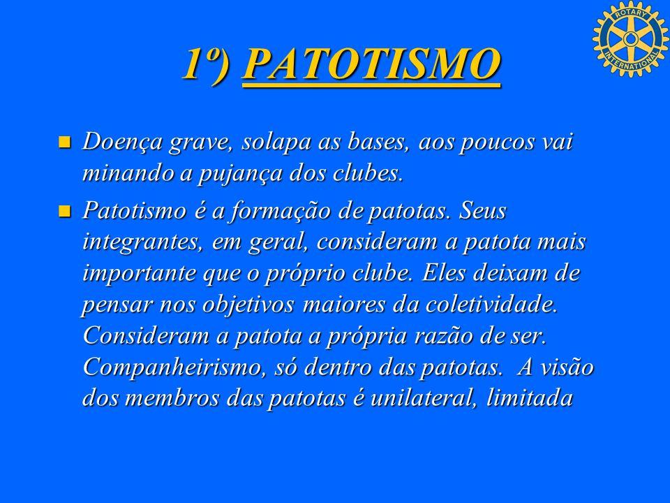 1º) PATOTISMO Doença grave, solapa as bases, aos poucos vai minando a pujança dos clubes.