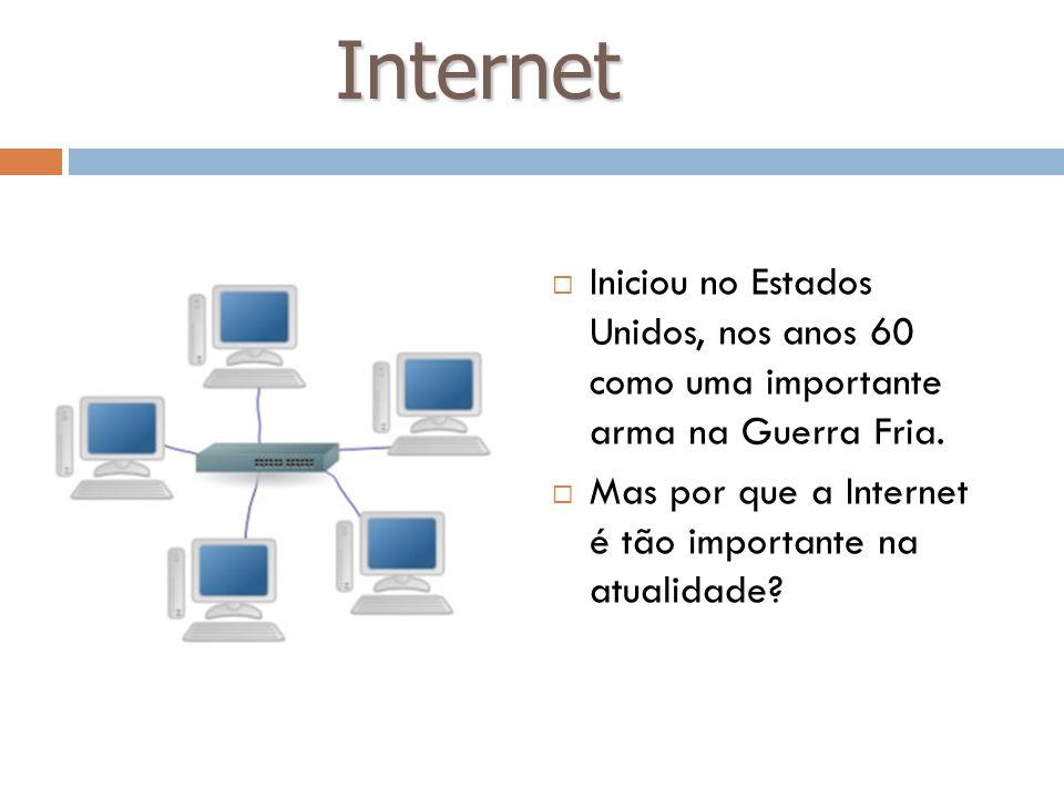 Internet Iniciou no Estados Unidos, nos anos 60 como uma importante arma na Guerra Fria.