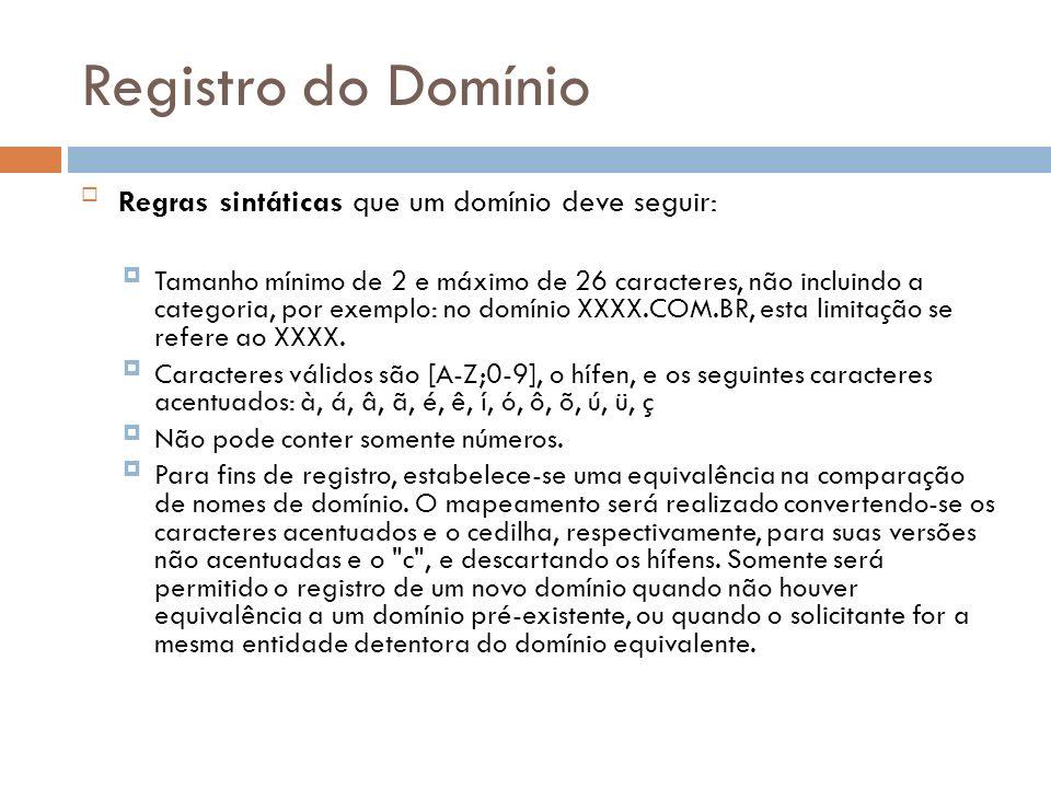 Registro do Domínio Regras sintáticas que um domínio deve seguir: