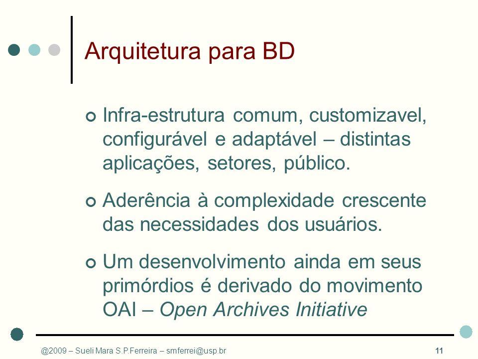 Arquitetura para BD Infra-estrutura comum, customizavel, configurável e adaptável – distintas aplicações, setores, público.