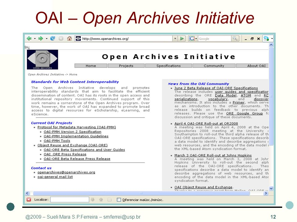 OAI – Open Archives Initiative