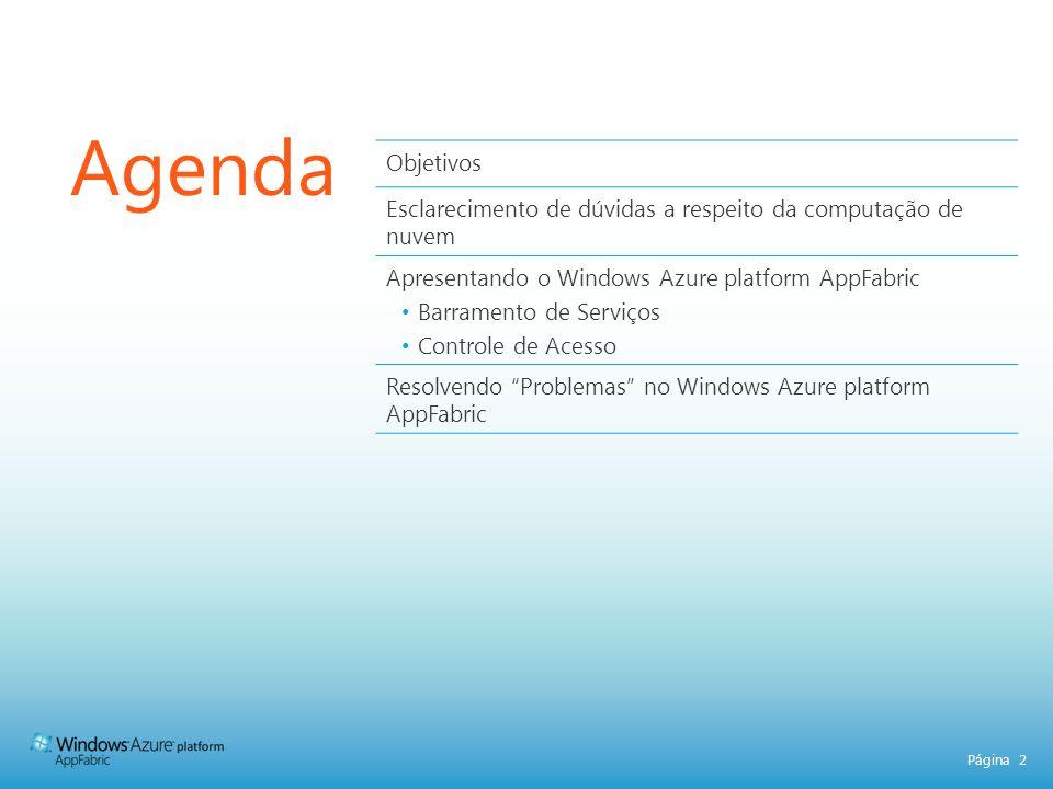 Agenda Objetivos. Esclarecimento de dúvidas a respeito da computação de nuvem. Apresentando o Windows Azure platform AppFabric.
