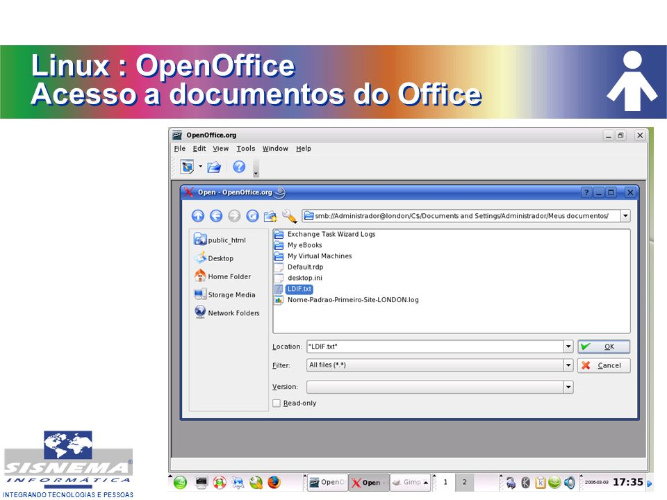 Linux : OpenOffice Acesso a documentos do Office