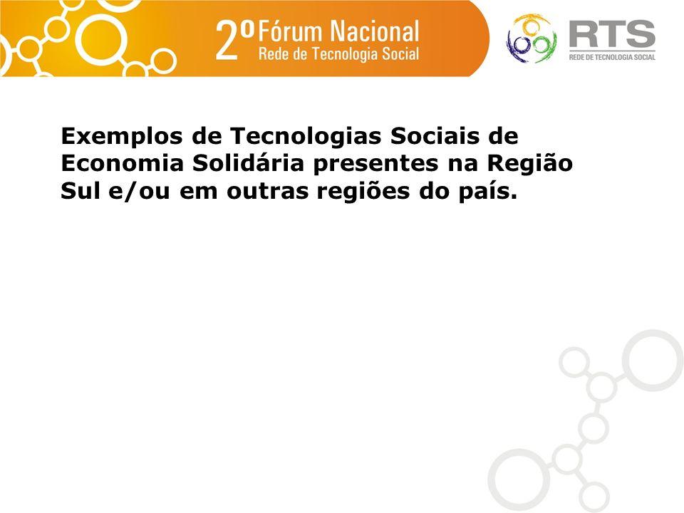 Exemplos de Tecnologias Sociais de Economia Solidária presentes na Região Sul e/ou em outras regiões do país.