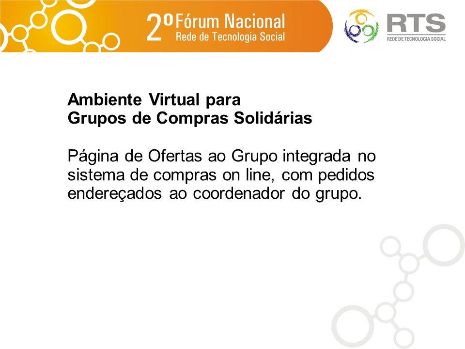 Ambiente Virtual para Grupos de Compras Solidárias