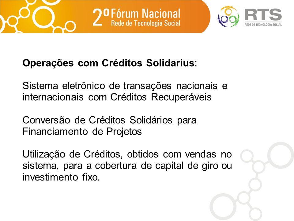 Operações com Créditos Solidarius: