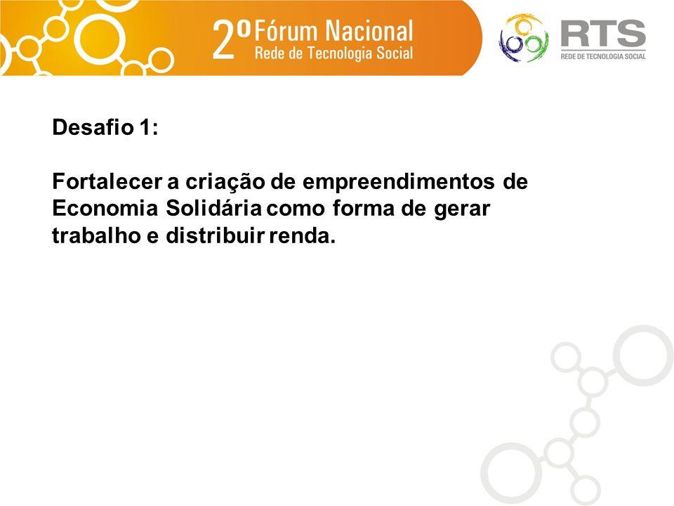 Desafio 1: Fortalecer a criação de empreendimentos de Economia Solidária como forma de gerar trabalho e distribuir renda.