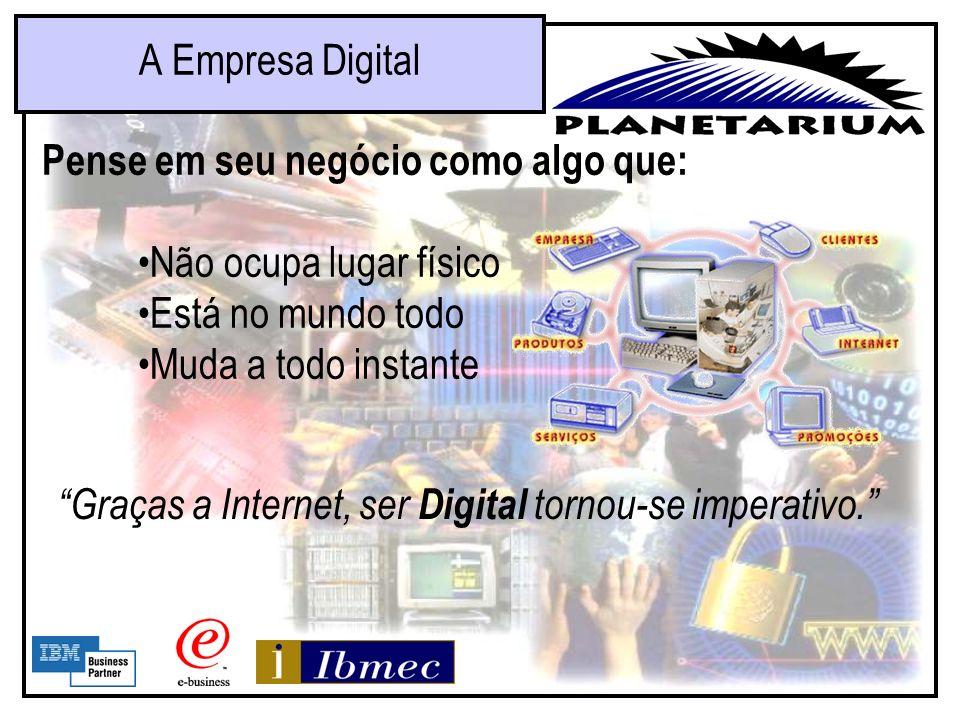 A Empresa DigitalPense em seu negócio como algo que: Não ocupa lugar físico. Está no mundo todo. Muda a todo instante.