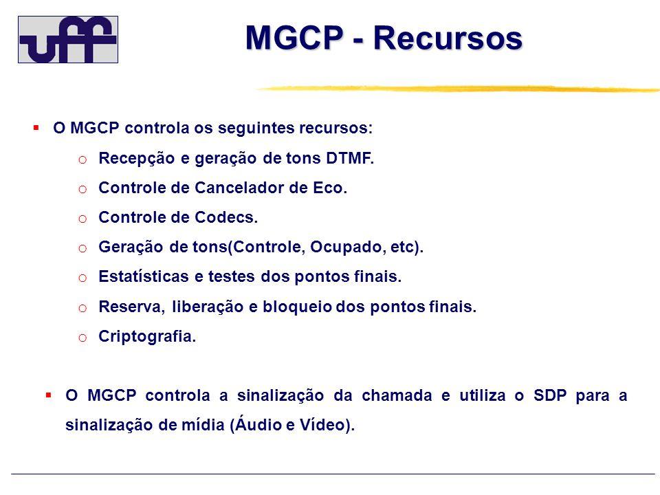 MGCP - Recursos O MGCP controla os seguintes recursos: