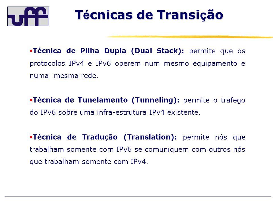 Técnicas de Transição Técnica de Pilha Dupla (Dual Stack): permite que os protocolos IPv4 e IPv6 operem num mesmo equipamento e numa mesma rede.
