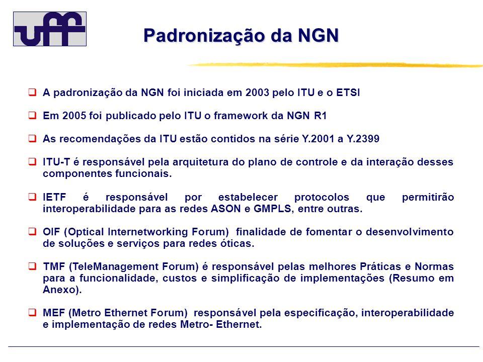 Padronização da NGN A padronização da NGN foi iniciada em 2003 pelo ITU e o ETSI. Em 2005 foi publicado pelo ITU o framework da NGN R1.