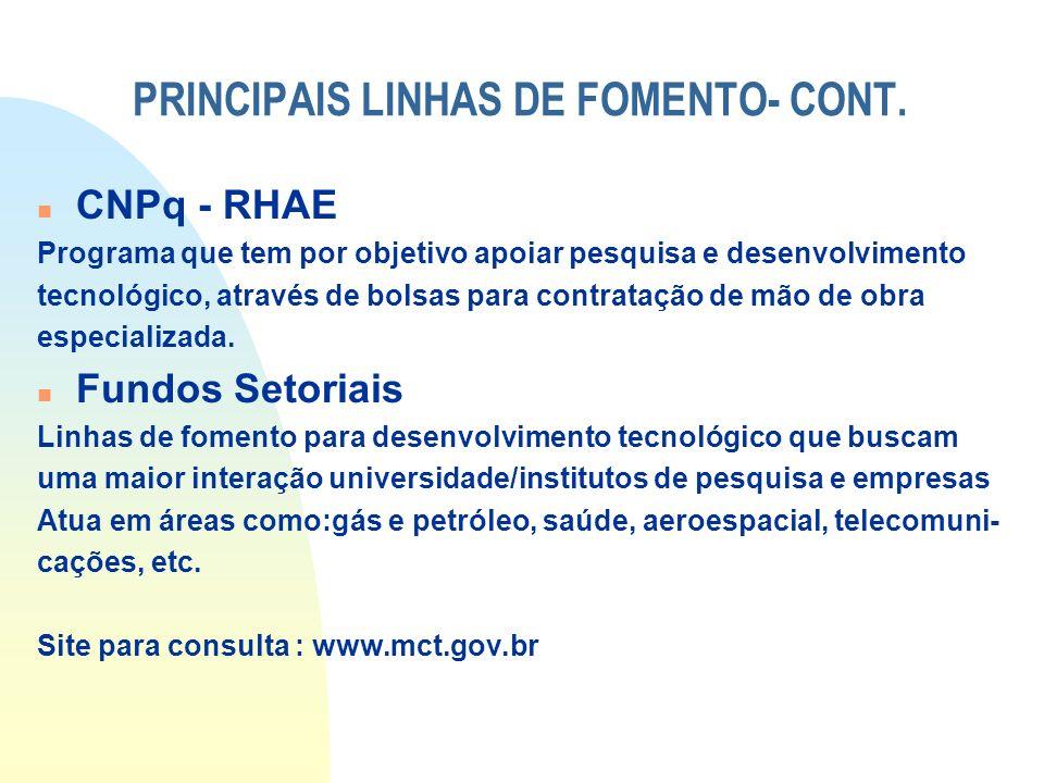 PRINCIPAIS LINHAS DE FOMENTO- CONT.