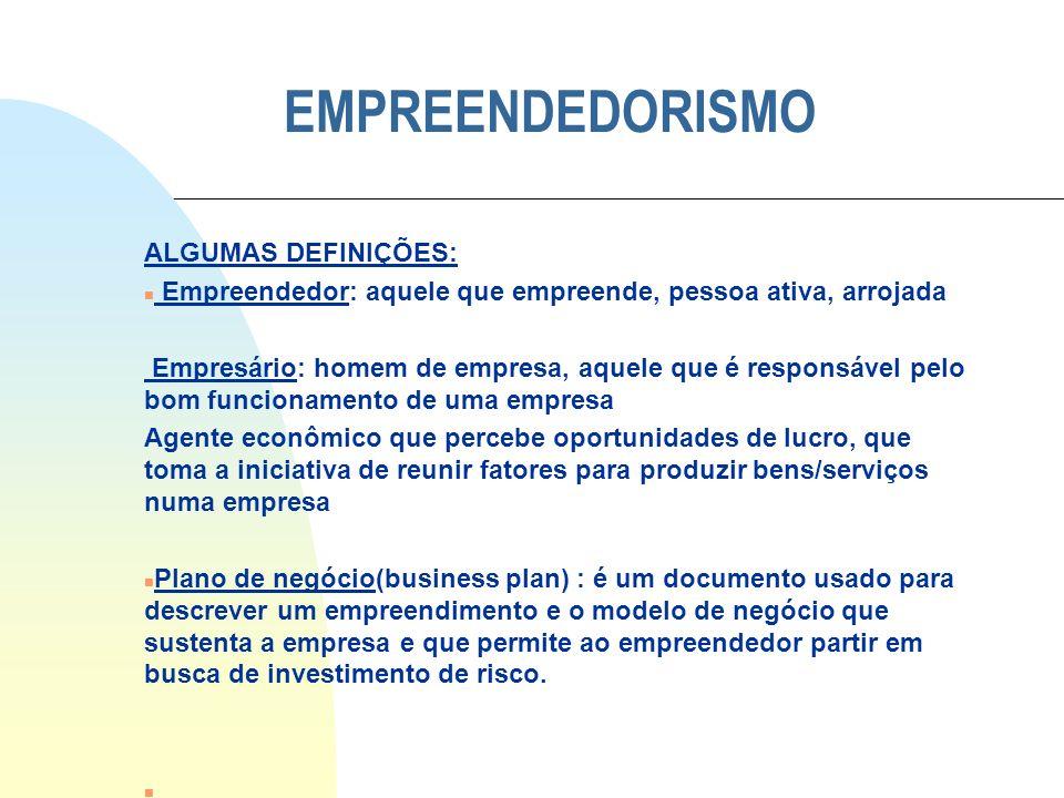 EMPREENDEDORISMO ALGUMAS DEFINIÇÕES: