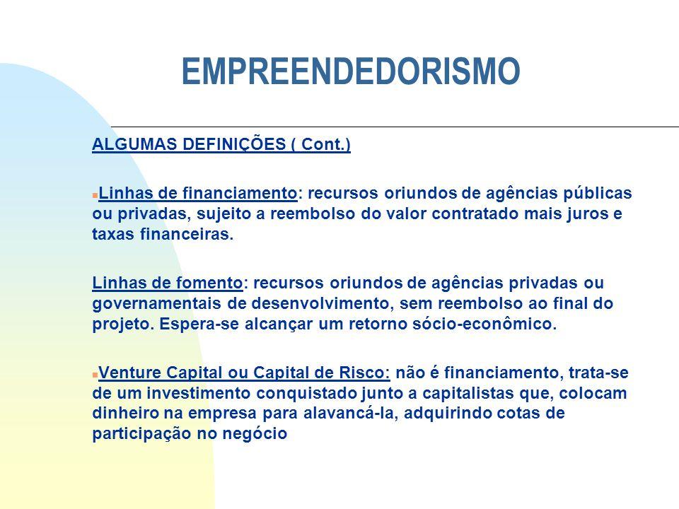 EMPREENDEDORISMO ALGUMAS DEFINIÇÕES ( Cont.)
