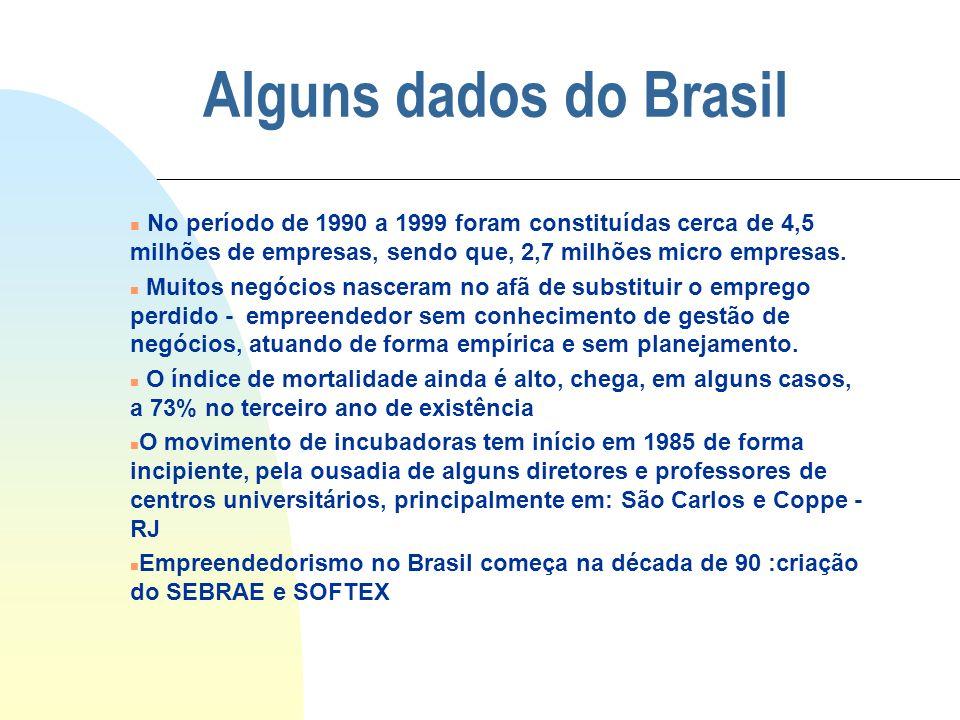 Alguns dados do Brasil No período de 1990 a 1999 foram constituídas cerca de 4,5 milhões de empresas, sendo que, 2,7 milhões micro empresas.