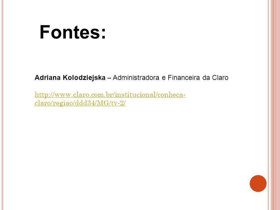Fontes: Adriana Kolodziejska – Administradora e Financeira da Claro