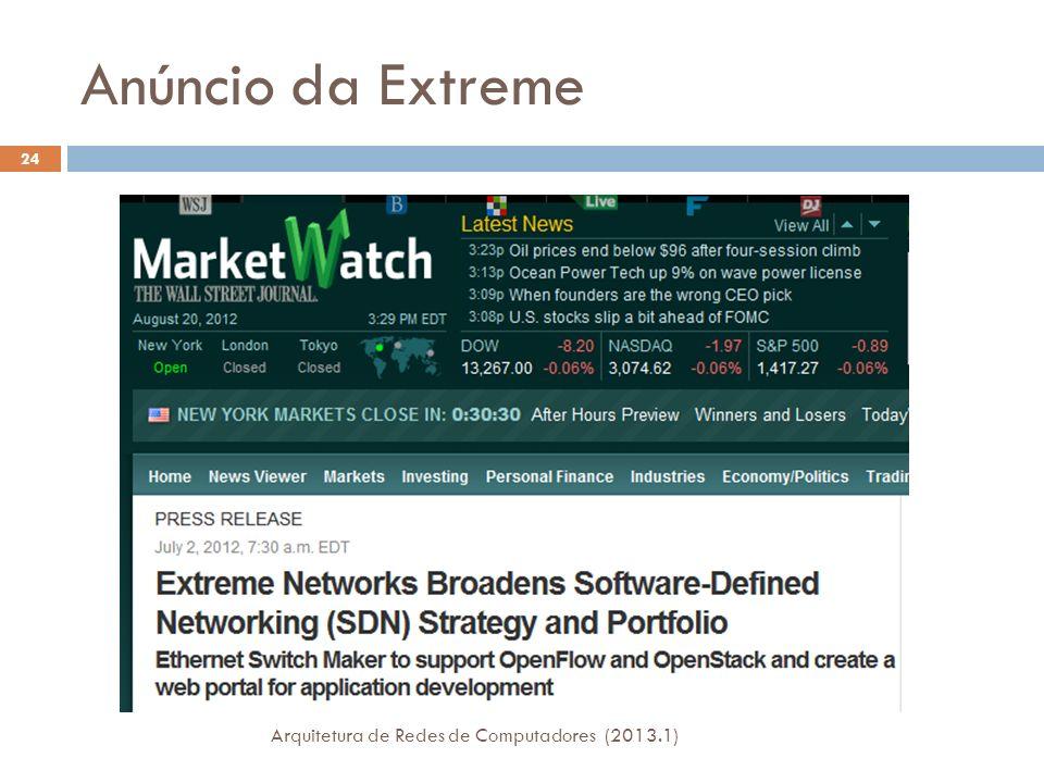 Anúncio da Extreme Arquitetura de Redes de Computadores (2013.1)