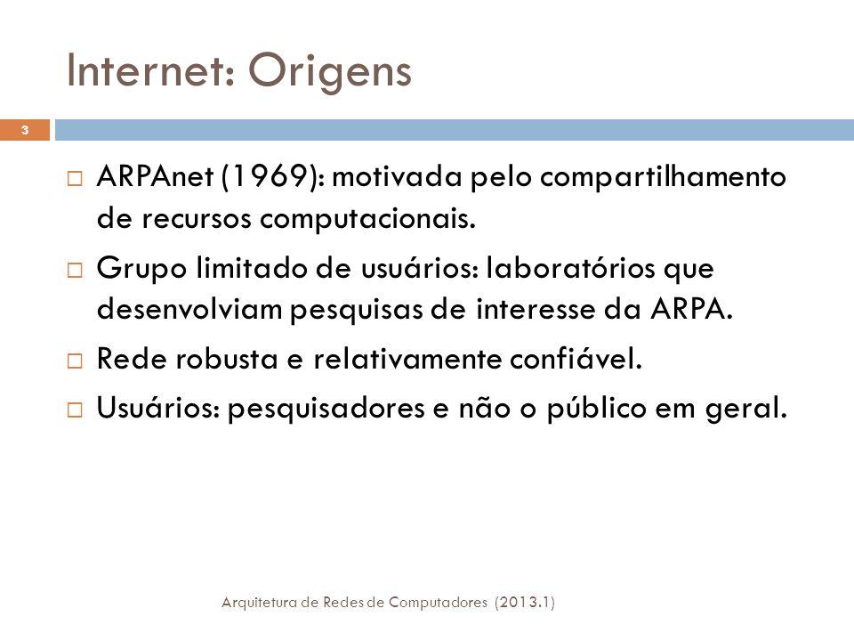 Internet: Origens ARPAnet (1969): motivada pelo compartilhamento de recursos computacionais.
