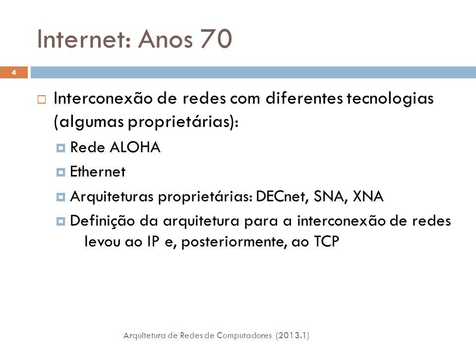 Internet: Anos 70 Interconexão de redes com diferentes tecnologias (algumas proprietárias): Rede ALOHA.