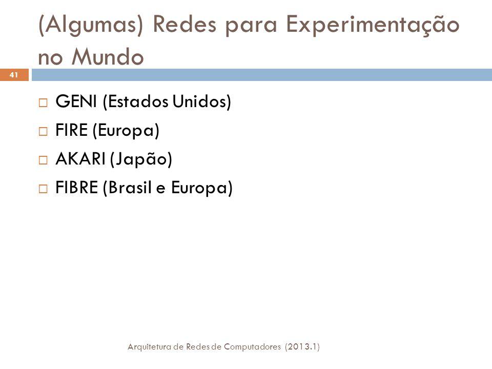 (Algumas) Redes para Experimentação no Mundo