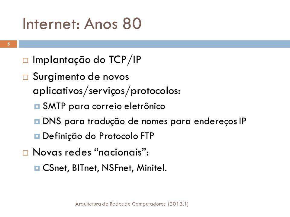 Internet: Anos 80 Implantação do TCP/IP