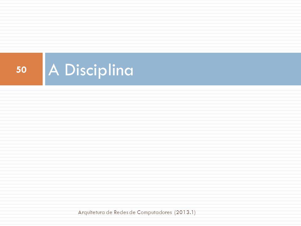 A Disciplina Arquitetura de Redes de Computadores (2013.1)