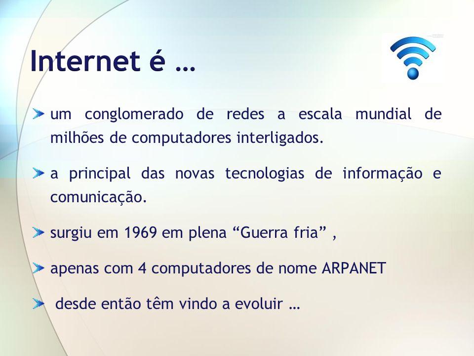 Internet é … um conglomerado de redes a escala mundial de milhões de computadores interligados.