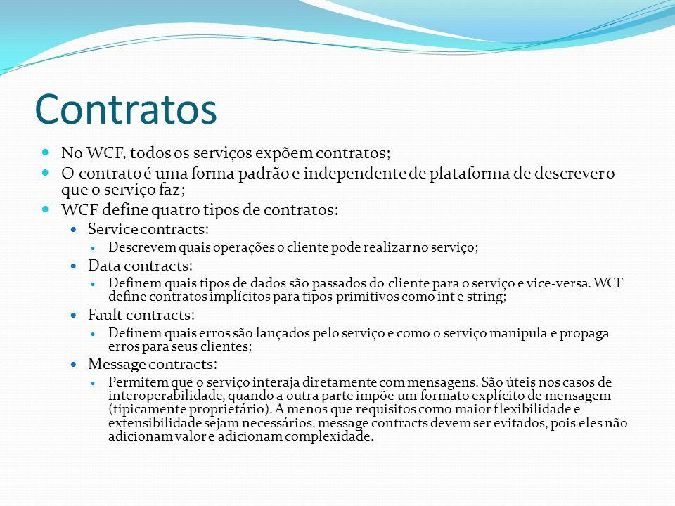 Contratos No WCF, todos os serviços expõem contratos;