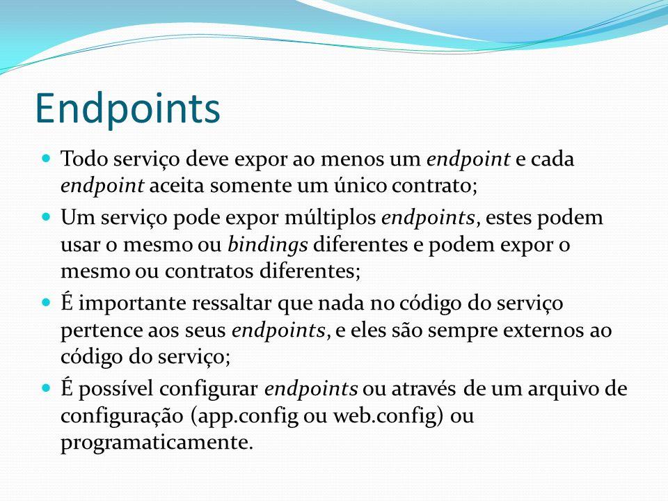 Endpoints Todo serviço deve expor ao menos um endpoint e cada endpoint aceita somente um único contrato;
