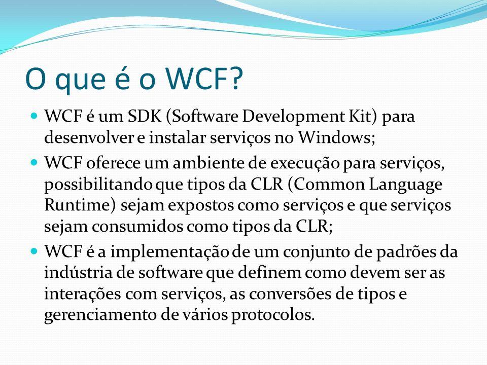 O que é o WCF WCF é um SDK (Software Development Kit) para desenvolver e instalar serviços no Windows;