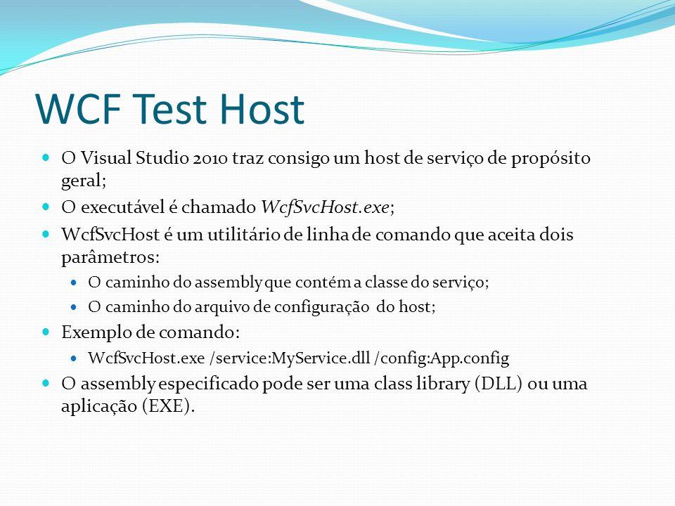 WCF Test Host O Visual Studio 2010 traz consigo um host de serviço de propósito geral; O executável é chamado WcfSvcHost.exe;