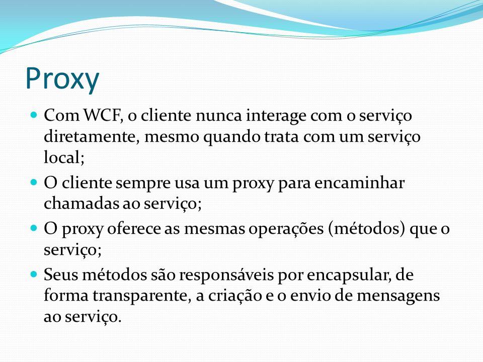 Proxy Com WCF, o cliente nunca interage com o serviço diretamente, mesmo quando trata com um serviço local;
