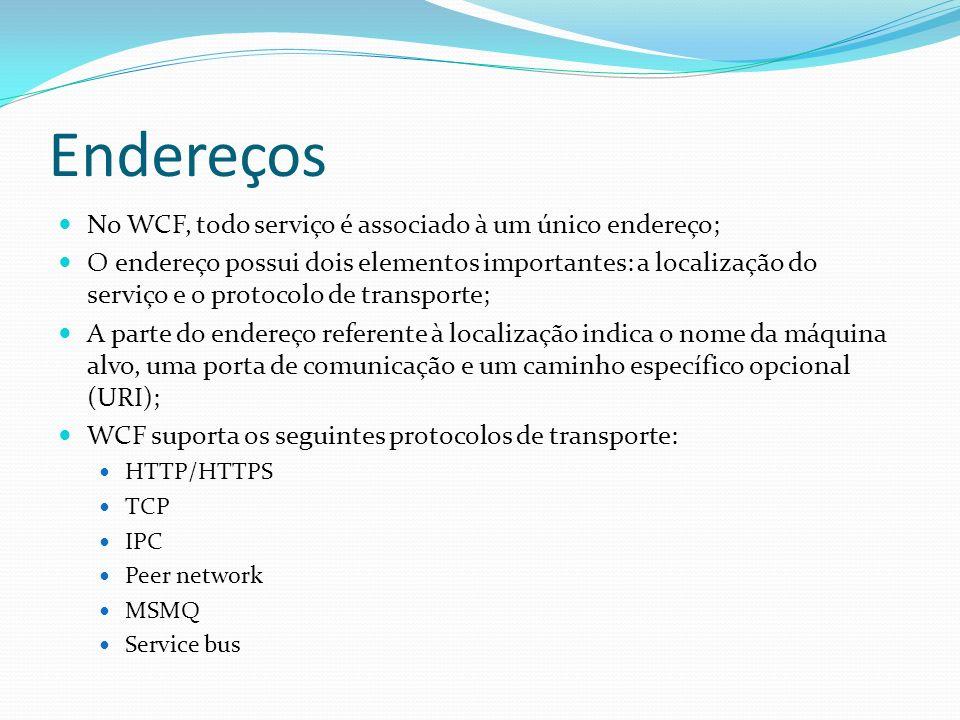 Endereços No WCF, todo serviço é associado à um único endereço;