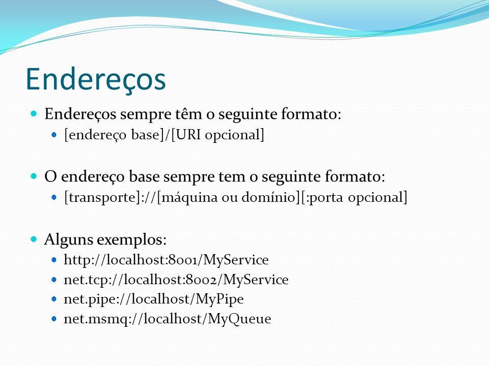 Endereços Endereços sempre têm o seguinte formato:
