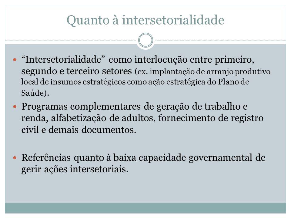 Quanto à intersetorialidade