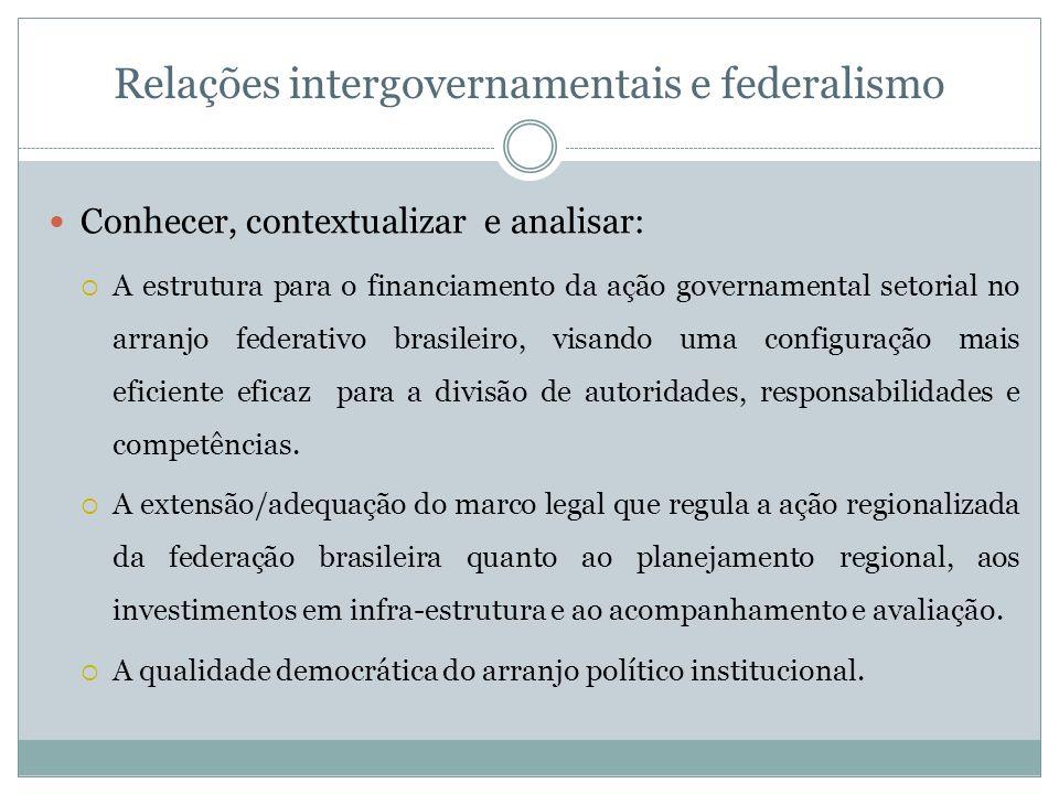 Relações intergovernamentais e federalismo