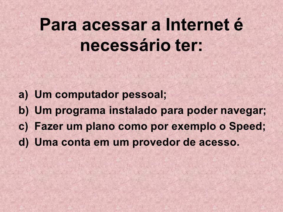 Para acessar a Internet é necessário ter: